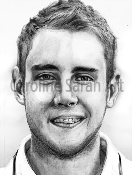 Drawing of England and Nottinghamshire cricketer Stuart Broad