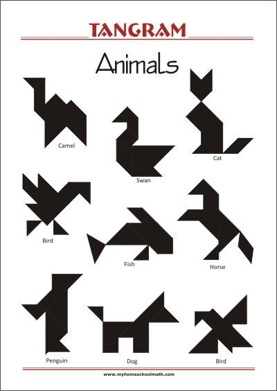 tangram animals  worksheets with solutions  try to solve