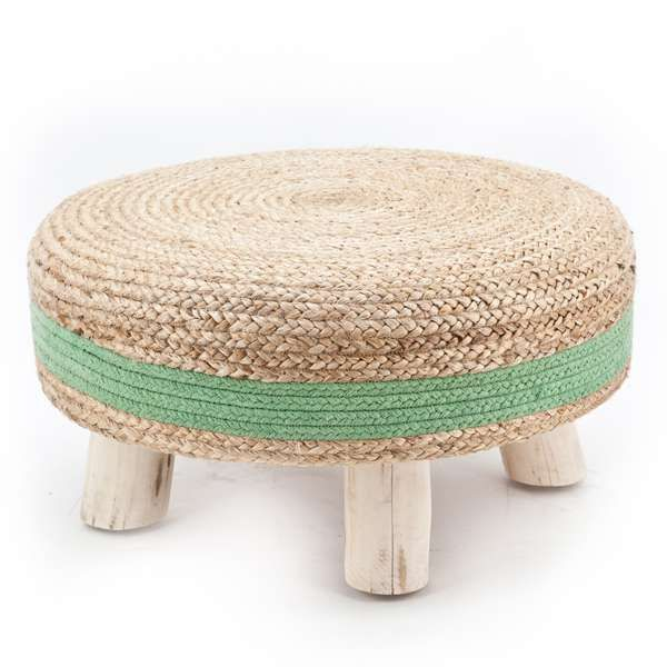 vintage hocker jute 60 cm holz sisal gr n poufs. Black Bedroom Furniture Sets. Home Design Ideas
