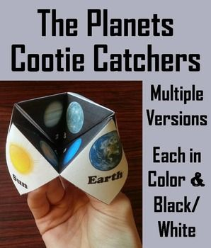 Planets! Planets! Planets! Planets! Planets! Planets! Planets! Planets Cootie Catchers/ Fortune Tellers: These cootie catchers of the planets are a great way for students to have fun while learning about the planets.  Folding Directions (with pictures) are Included.This product has the following versions: 1.
