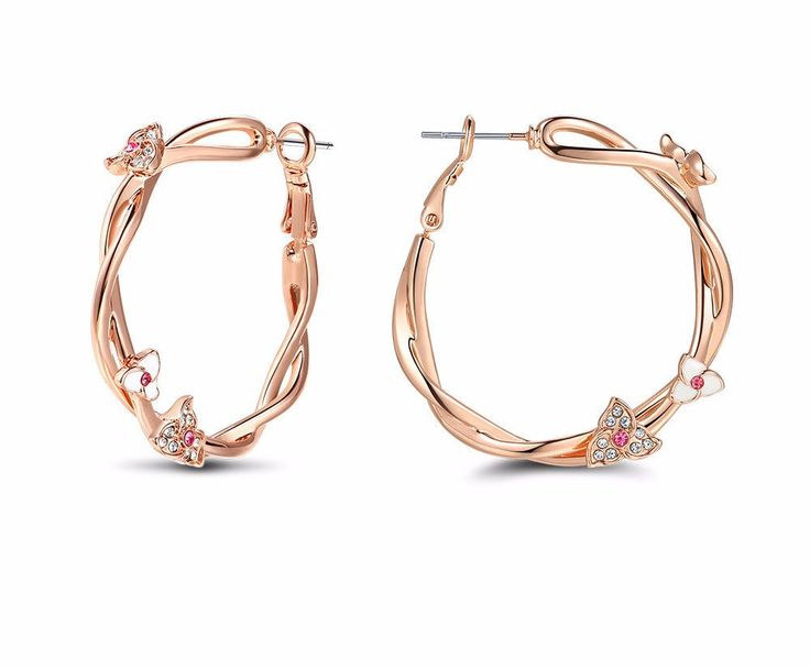 Rose Gold Color Flower Hoop Earrings for Woman Pink Rhinestone Large Twisted Circle Earrings Women Fashion Jewelry