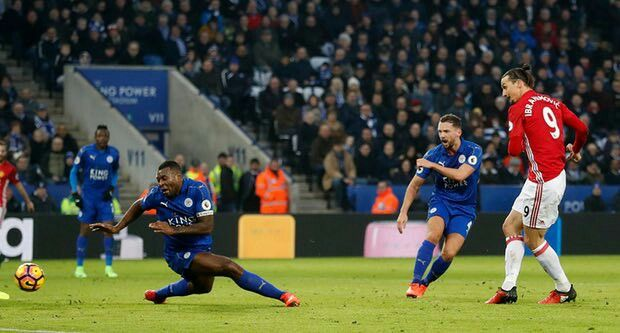 Leicester City 0 Man Utd 3 in Feb 2017 at King Power Stadium. Zlatan Ibrahimovic doubles the lead on 44 minutes #Prem.