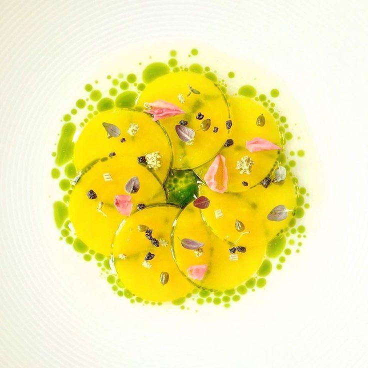 Restaurant Geranium's: Yellow beets, smoked yogurt water and aromatic seeds.