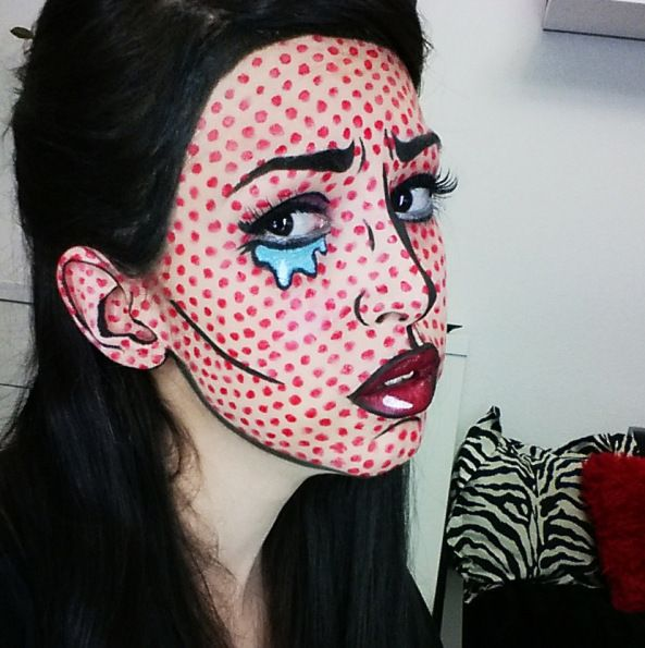 comic Art Pop, Pop Art Girl, Halloween Make Up, Halloween Face Makeup, Comic Book Makeup, Carnival Makeup, Carnival Ideas, Zbrush Tutorial, Girls Makeup