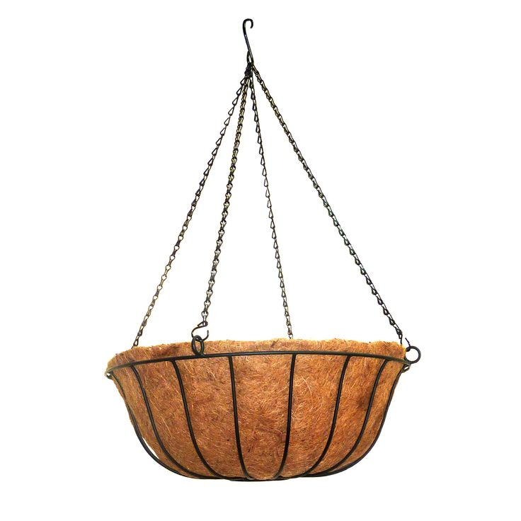 Patio Life 20-in x 7-in Black Metal Hanging Traditional Basket