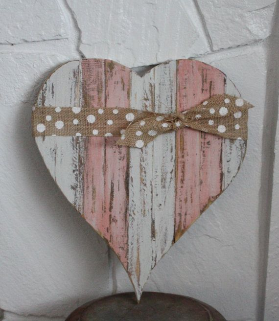 Planked Reclaimed Wood Striped Heart with Sweet Pickins Milk Paint