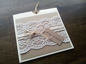 SAMPLE Personalised Handmade Vintage Chic Lace Wedding Wallet Invitation | eBay