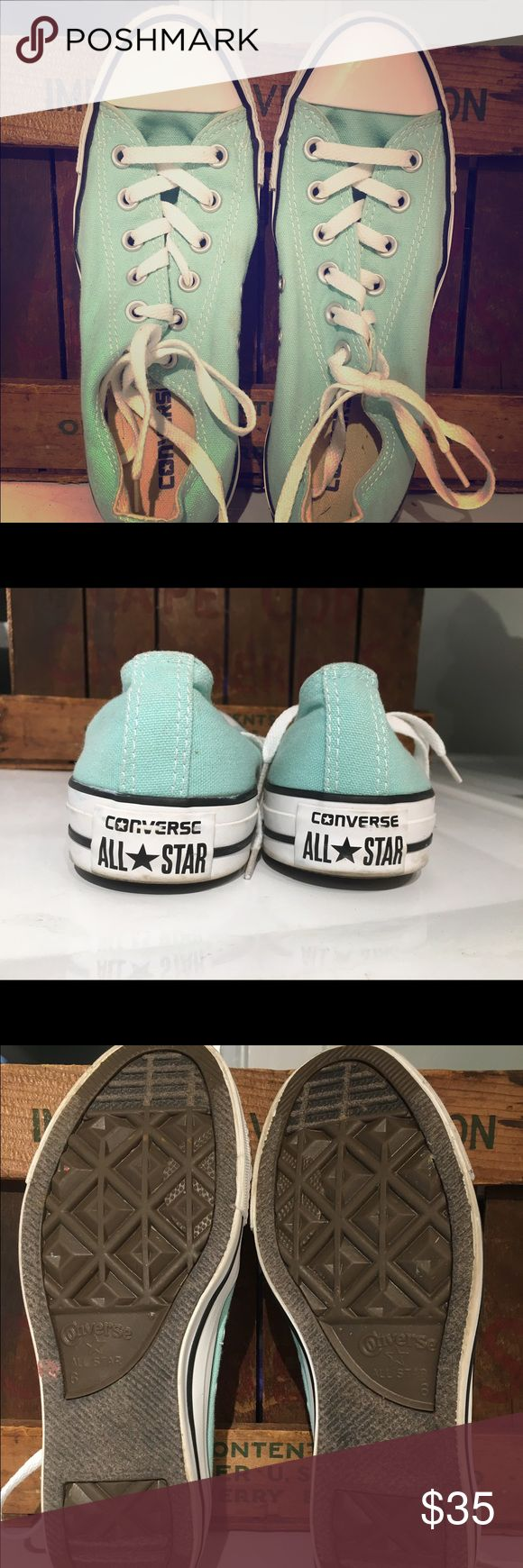 EUC Mint Converse Women's 8, Men's 6 Excellent used condition, very clean and hard to find Converse All Star Chuck Taylor's size 8 women's or 6 men's. Color: mint Converse Shoes Athletic Shoes