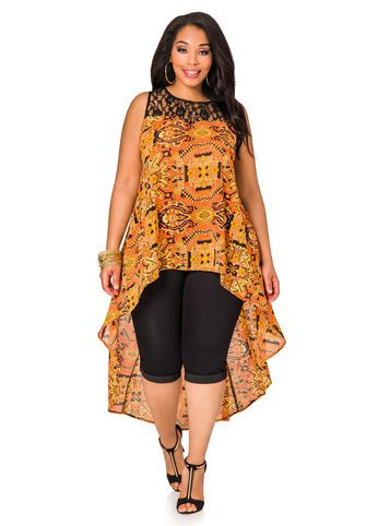 Lace Yoke Tribal Hi-low Blouse