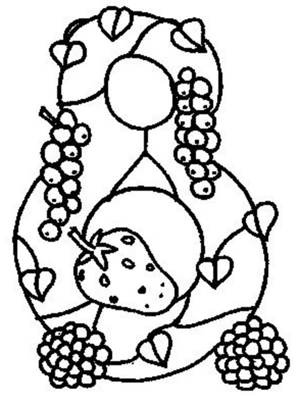 Learn Number 8 With Eight Fruits Coloring Page Fruit Coloring Pages Animal Coloring Pages Coloring Pages