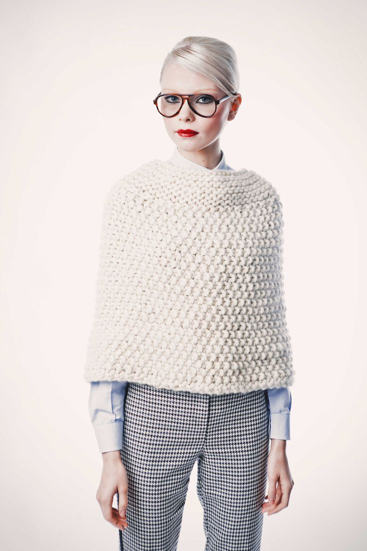 Knitted Cream Wool Cape - Elegant Style | Manhattan Cape by We Are Knitters, DIY Knitting Kit
