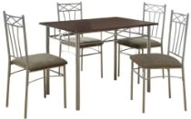 Monarch Specialties Cappuccino Silver Metal Dining Set, 5-Piece