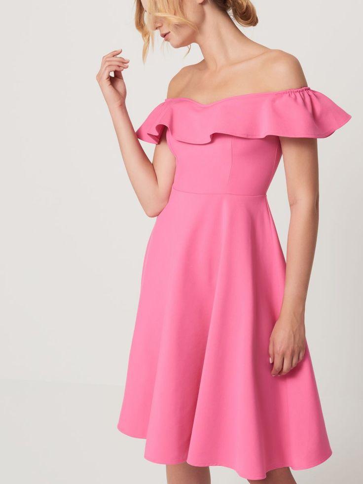 Sukienka z prostym dekoltem i falbaną, MOHITO, SH594-42X