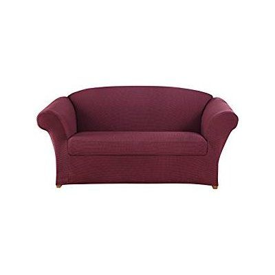 Sure Fit Honeycomb Loveseat Slipcover Color: Burgundy
