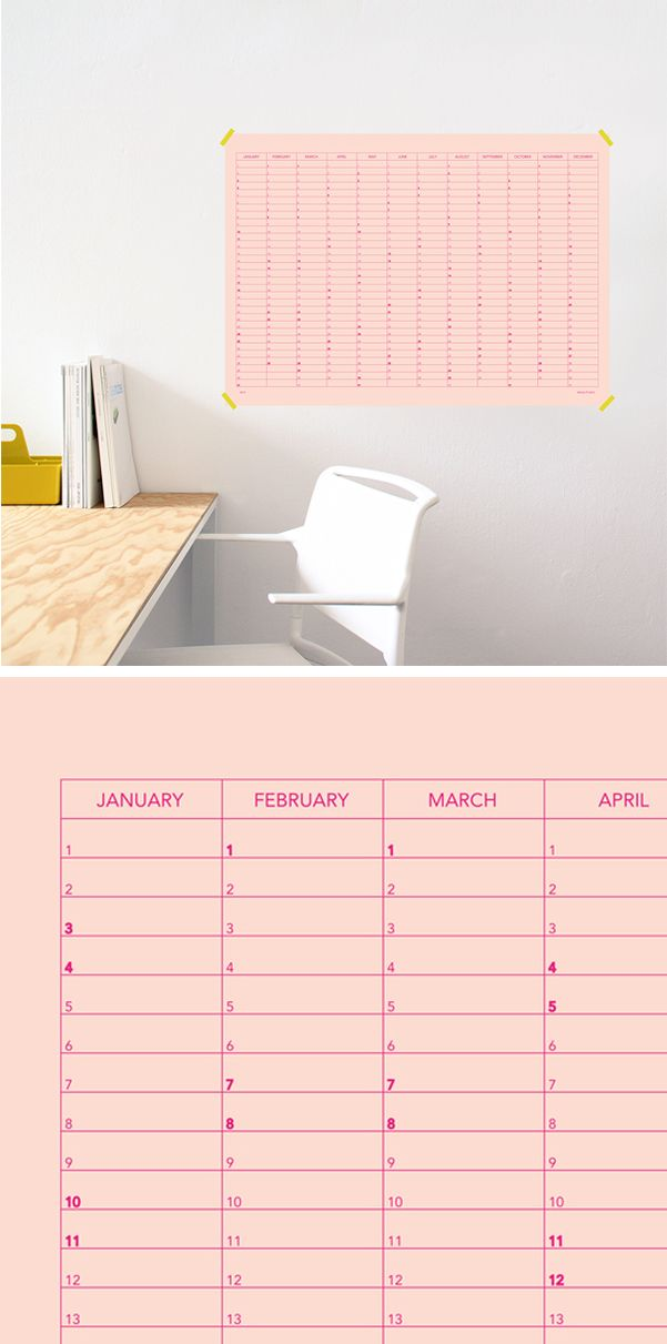SNUG.MEMO wallcalendar for your notes / available in 2 colours