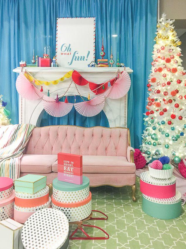 Colorful Christmas decor - pink velvet sofa - colorblocked white Christmas tree - www.pencilshavingsstudio.com #colorfulchristmas #howtodecoratewithcolor #whitechristmastree #whimsicalchristmasdecor