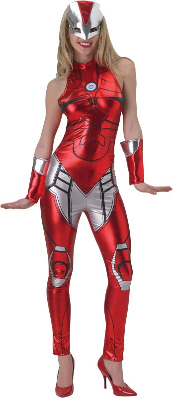 Rescue Ironman Ladies Superhero Costume - Calgary, Alberta. Based on the Marvel character Iron Man. This sleek bodysuit, made to look like Iron Man, would make even Jarvis blush. Powerful and sexy, this costume is perfect for Halloween, superhero parties, comic conventions, or just for fun.