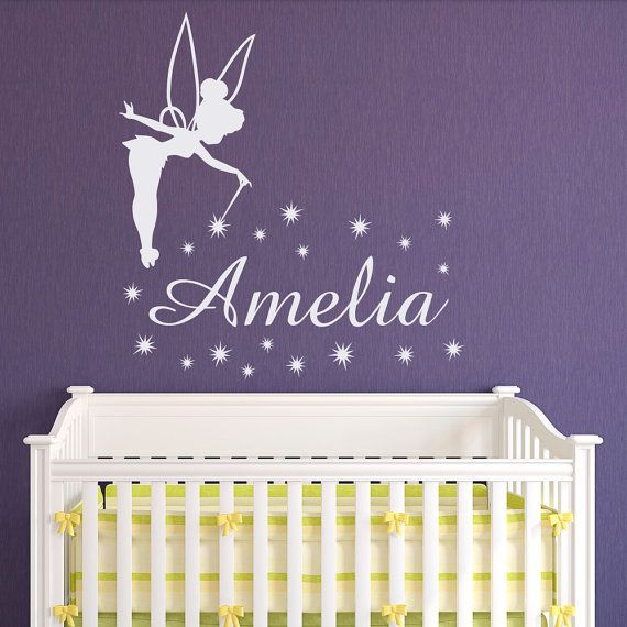 Nom de la fée clochette Wall Decal peu princesse Stickers personnalisés autocollants - Girl nom muraux autocollant pépinière pour filles chambre