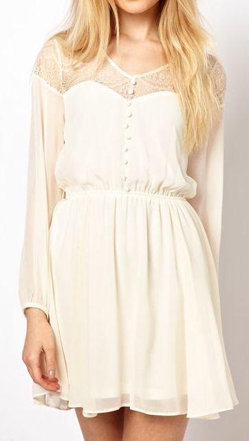 White Long Sleeve Chiffon Dress