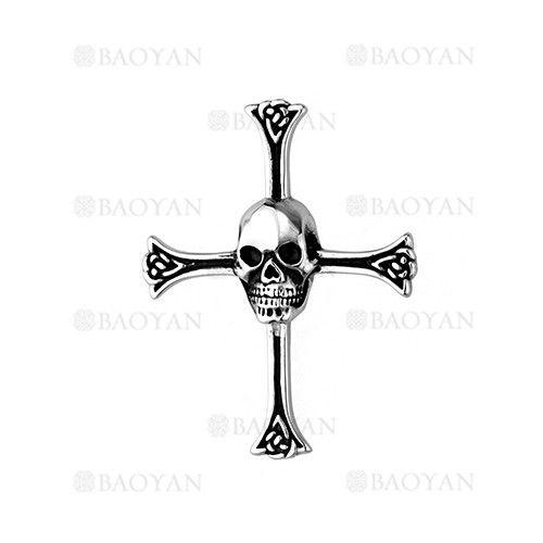 colgante de santa cruz con craneo en acero plateado inoxidable para hombre -SSPTG1131470