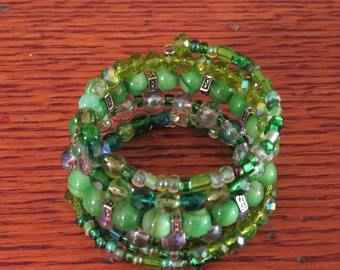 Beaded Memory Wire Bracelet, Green Multi-Coil Bracelet,Memory Wire Wrap Bracelet,Gift for Her,Wrap Bracelet for Women, Memory Wire Jewelry