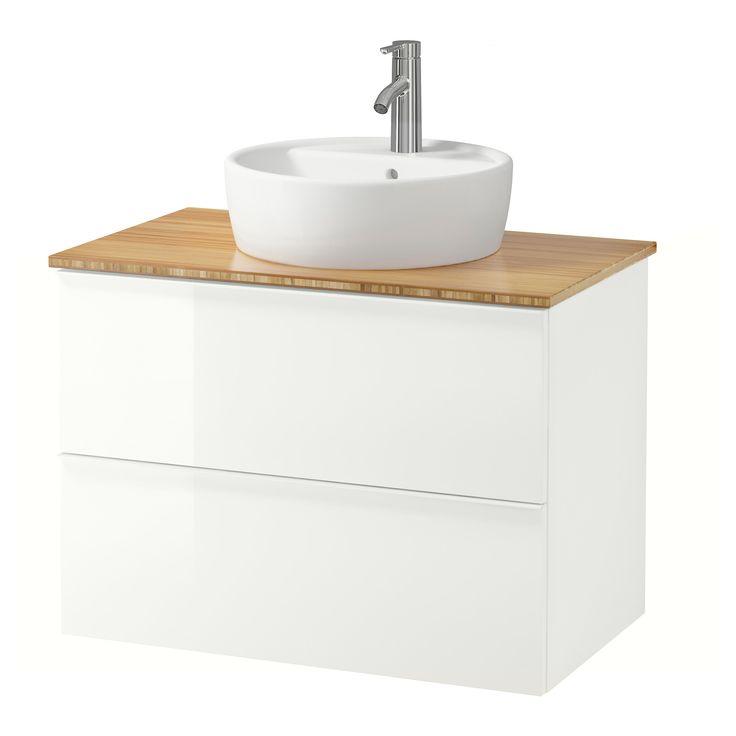 GODMORGON/ALDERN / TÖRNVIKEN Meuble lavabo av lavabo à poser 45, plaqué chêne…