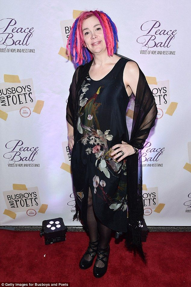 Brights! Lana Wachowski rocked her pink and purple hair style as she arrived at the Poets'...