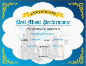 Best Music Performance Certificate Template DOWNLOAD At  Http://certificatesinn.com/best  Certificate Template Download