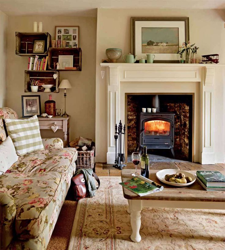 A restored farmhouse in the Welsh countryside | Period Living. Love the fireplace and woodburner
