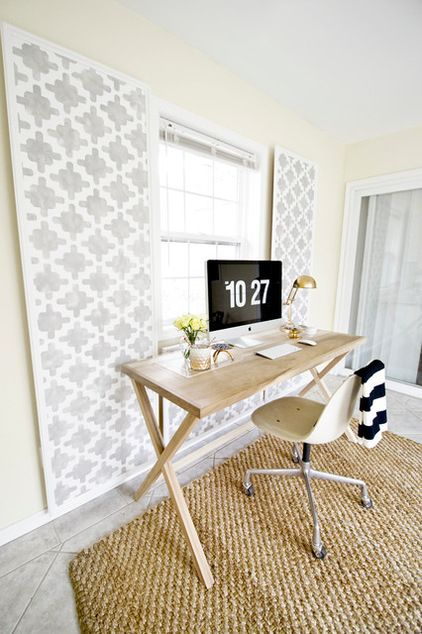 DIY: Keep wires under wraps for a neater-looking home office or media center, with wall decorative panels you make to your exact taste.
