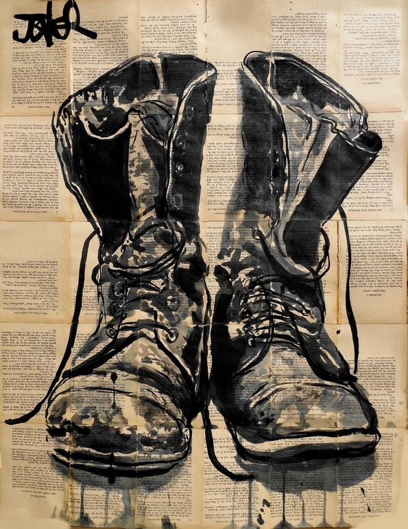 "Almost exactly like my Lino print from first year art school! I should pull it out and frame it.  ""These Old Boots"" • Loui Jover {ink drawing}"
