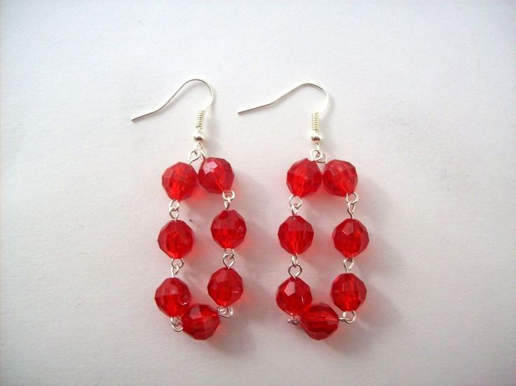 Red Dangle Earrings Red Acrylic Beads Silvertone Metal Valentines Day #CherryRoseCottage #DropDangle