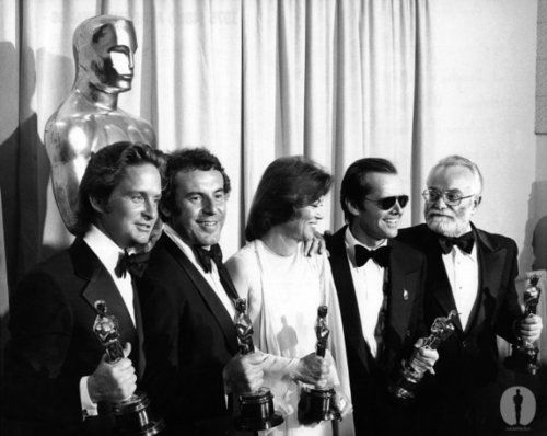 """Best Picture winners (""""One Flew over the Cuckoo's Nest"""") Michael Douglas and Saul Zaentz with Best Director Milos Forman, Best Actress Louise Fletcher and Best Actor Jack Nicholson at the 48th Academy Awards"""
