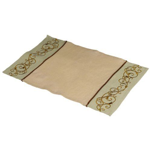 Grasslands Road Cucina Beige and Cream Embroidered Scrollwork Placemats, Set of 4 by Grasslands Road. $24.00. Cotton polyester blend fabric with dark brown satin finish roped piping. 12-1/2 By 18-inch. Machine wash in cold water, line dry, cool iron. See our matching grasslands road aprons, tea towels, oven mitts and table runner. Set of 4 tied with ribbo and hang tag. Grasslands Road Cucina Beige and Cream Embroidered Scrollwork Placemats Set of 4- Search Gra...