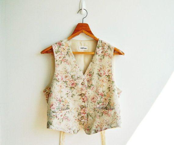 Vintage Beige Sweet Floral Printed Vest Top by sweetdecade on Etsy, $26.00