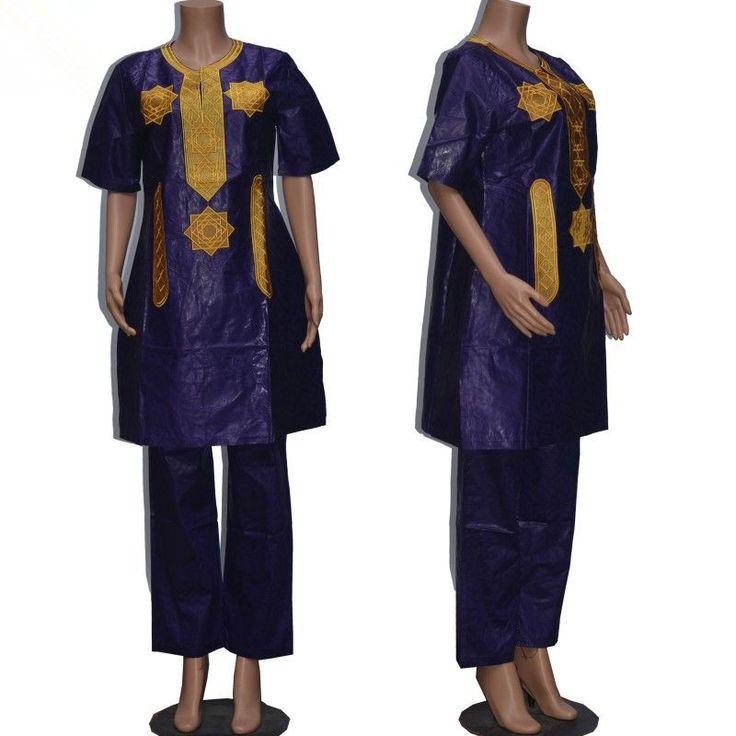Vrouwen traditionele afrikaanse Bazin riche Afrikaanse Lange mouw 100% katoen Borduren kleding afrikaanse jurk voor vrouwen met broek 010