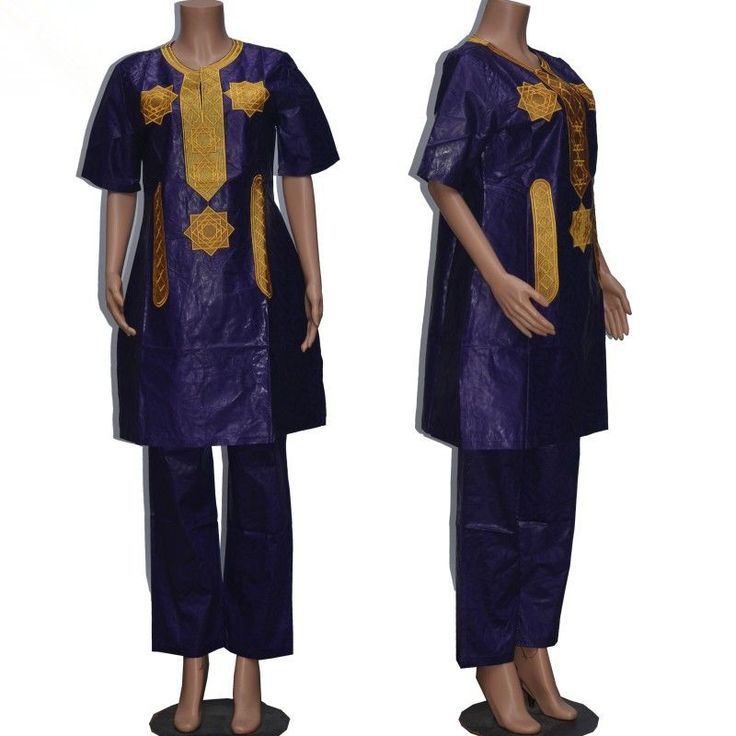 Women traditional african Bazin riche African Long sleeve 100% cotton Embroidery clothing african dress for women with pants 010