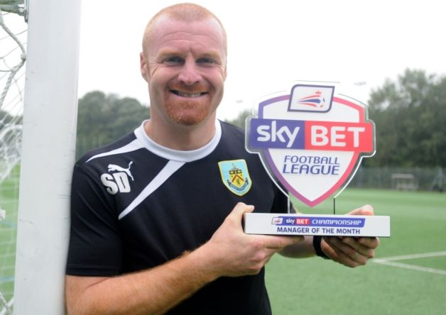 Clarets boss Sean Dyche has been named Championship manager of the month for April - his third such accolade in a season in which he has guided Burnley back to the Premier League.