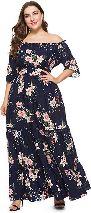 6bd83d6daf1 Off Shoulder Plus Size Flower Print Dress XL-6XL at Amazon Women s Clothing  store