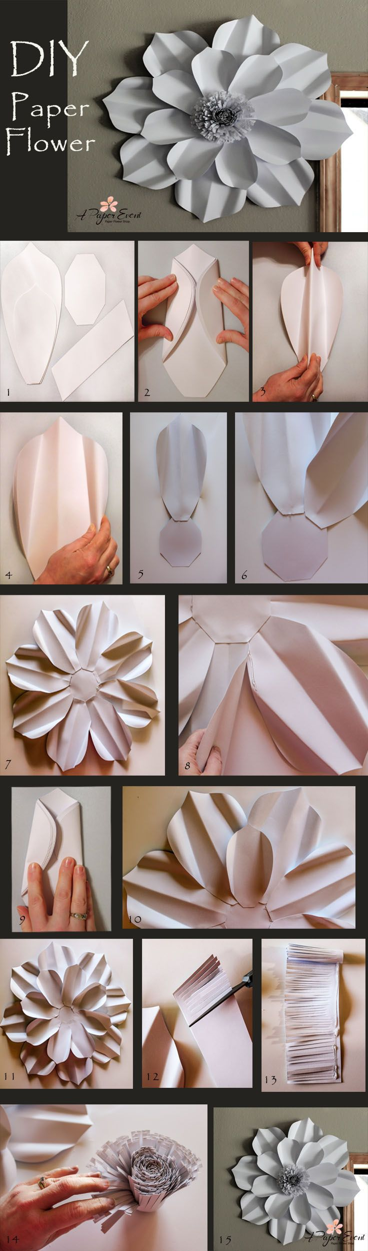 Make your own giant paper flower!  Create breathtaking backdrops for any event.  Template and step-by-step directions provided to make this over the top decor piece. Follow us on instagram @apaperevent