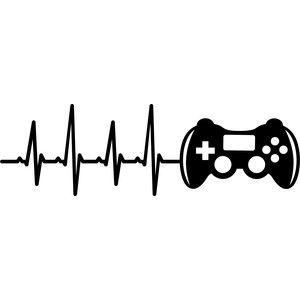 Silhouette Design Store - View Design #158884: heartbeat video game