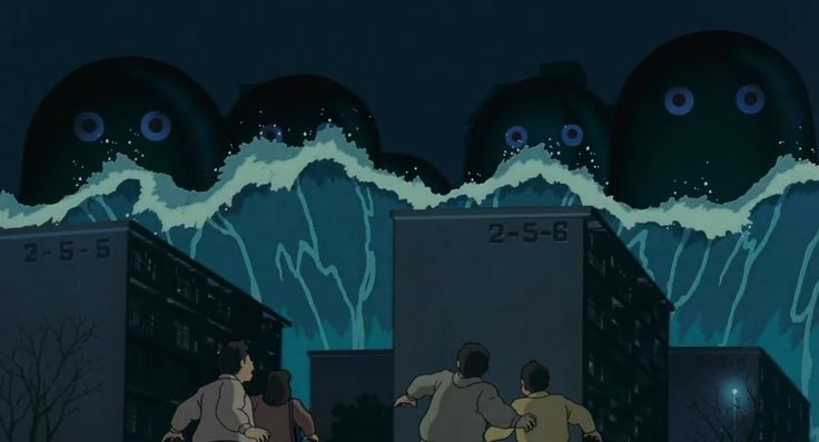 "Scene in Pom Poko. The screenshot of this scene is of Umibozu(s) attempting to flood and destroy a city through an unstoppable gigantic tidal wave. This scene is an adaptation showcasing the legendary sea creature ""Umibozu"" in Japanese Folklore."