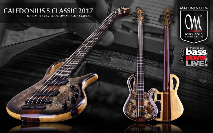 Mayones Calednonius 5 Classic 2017   Eye Poplar top   Trans Graphite Burst Gloss finish   Swamp Ash body wings   5-ply Wenge/Padouk neck-thru-body section   Two additional graphite rods   Ebony 27 frets fingerboard   Aguilar Amplification 5SD-D2 Super Double & 5SS-D2 Super Single Soapbar pickups   Mayones M-BP3 18V 3-band EQ preamp + Passive Tone   Mini switches for Active/Passive mode and coil splitting  Neutrik output   Mayones X-25 bridge   Schaller M4 mini 3+2 tuners   Black hardware