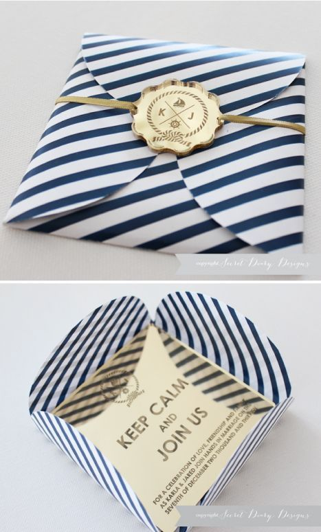 striped navy and gold invitation, laser cut