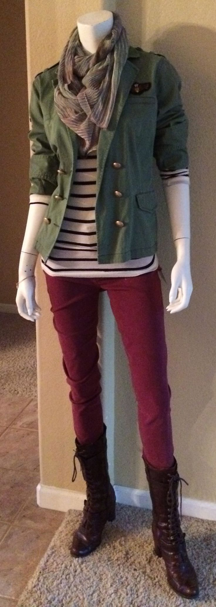 Daily Look: CAbi Fall '14 Bordeaux Wash Super Skinny Jean with vintage striped tee, Sergeant's Jacket and Marble Scarf.  #fallfashion #cabiclothing