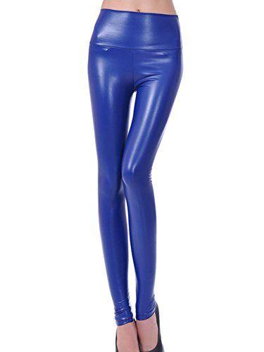 07d397e823 Mujeres Pu Cuero Leggings Skinny Elásticos Treggings Pantalones Cintura  Alta Leggins Pantalon