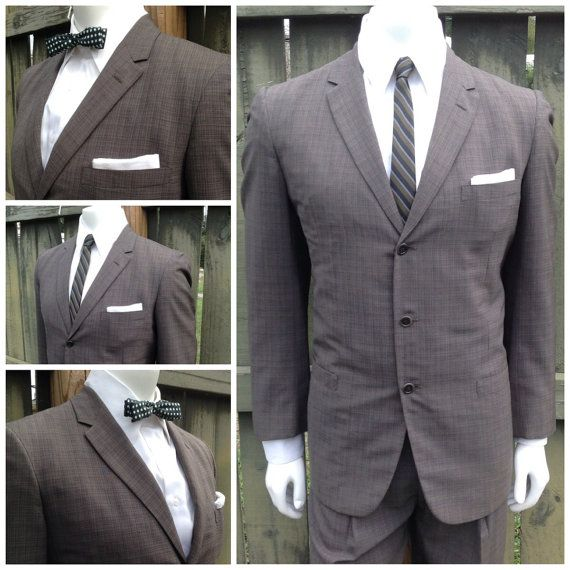 Vintage 1950s GREEN Plaid Mens Suit  2 Piece Thin by bamapana, $85.00