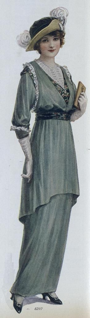 Green Spring Dress with Lacy Frills, Ladies Home Journal  (April, 1914)