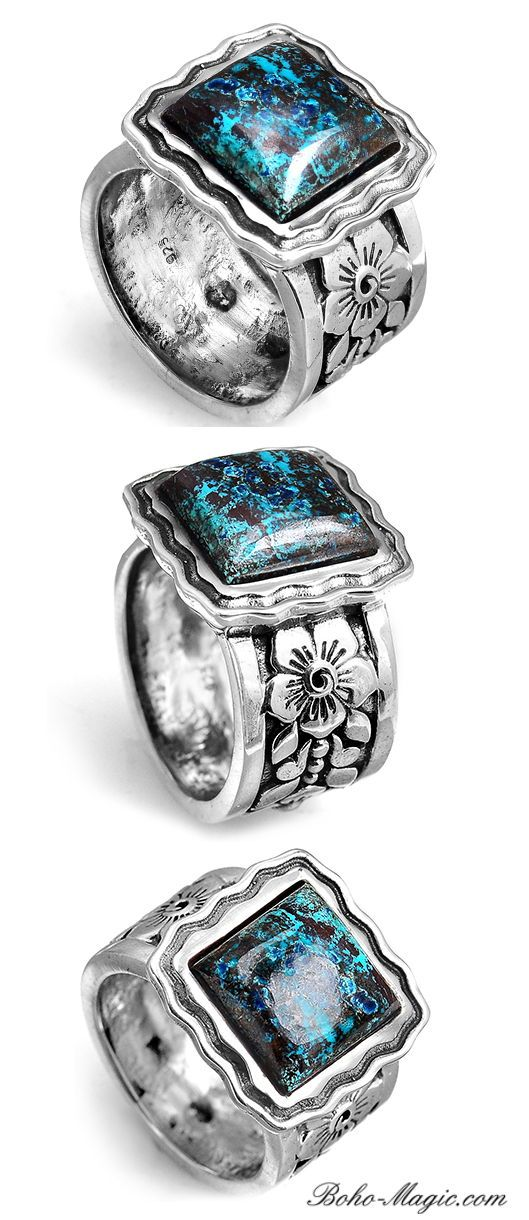 999d6cb90 Natural Azurite stone ring. Square stone ring. Bohemian Handmade Sterling  silver flower ring with stone. #BohoMagic #silver #jewelry #BohoRings #rings  ...