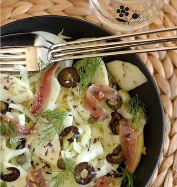 Salade de fenouil aux pommes et anchois - les meilleures recettes de cuisine d'Ôdélices